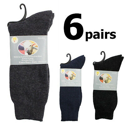 6 pairs Thick Merino Wool Blend Woolen Warm Heavy Duty Winter Thermal Socks
