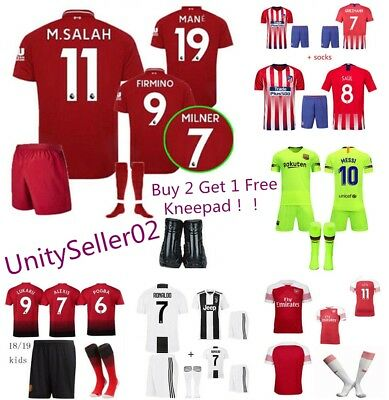 2018-19 Soccer Boys Football Club FCB 3-14 Yrs Jersey Shirt Kids Kits & Socks