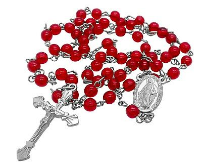 Catholic Rosary Necklace Round Red Glass Crystal Beads Miraculous Medal & Cross