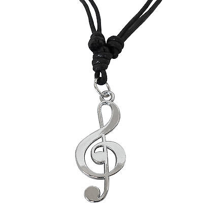 Music Note Pendant Chain Necklace Mens Kids Girls Womens Silver Colour Jewellery