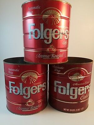 Lot of 3 Vintage Folgers Coffee Can Tin Automatic Drip Aroma Roasted 39 oz