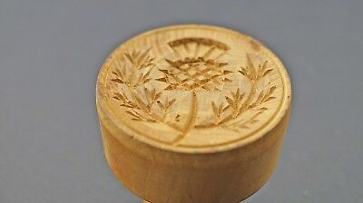 Carved Scottish Thistle Treen Butter Stamp of Biscuit Mould