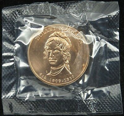 """U.S. Mint Medal 2007 First Spouse Dolly Madison Mint Cello 1 5/16"""" Bronze"""