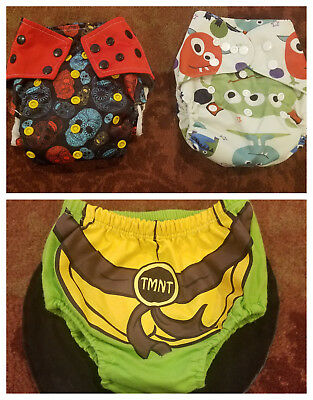 Lot NEW Cloth Pocket Diapers -Sugar Skull & Monsters- & TMNT Cover