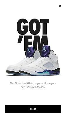 845ccb741c541a NIKE AIR JORDAN V Fresh Prince White Grape UK9 CONFIRMED - EUR 238 ...