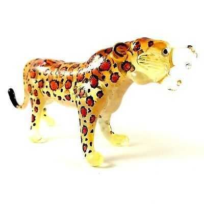 Figurine Miniature Blown Glass Leopard  Tiger Animal Collectibles Hand Art  #M