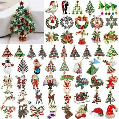 Merry Christmas Tree Snowman Brooch Pin Crystal Santa Claus Xmas Party Gift Hot