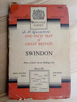 Ordnance Survey One-Inch Swindon Sheet 157 Cloth Map 1958