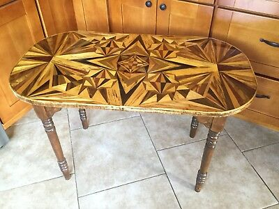 Vintage Intricate Inlaid Folk Art Marquetry Wood Occasional Table