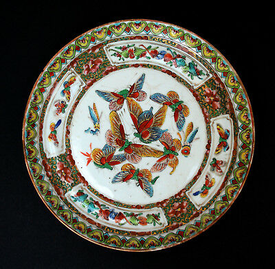 Antique Chinese Porcelain Plate Butterflies Qing Famille Rose Medallion