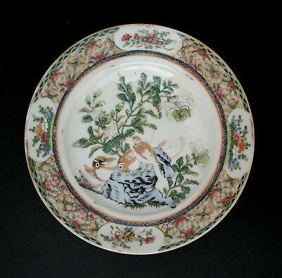 Antique Chinese Porcelain Plate Hawks Chrysanthemum Qing Famille Rose Medallion