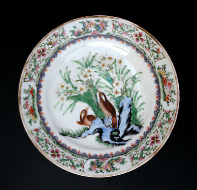 Antique Chinese Porcelain Plate Quail Daffodils Qing Famille Rose Medallion