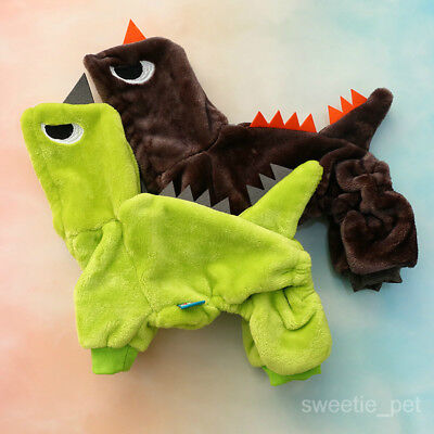 Dinosaur Costume Pet Dog Clothes Halloween Winter Chihuahua Jumpsuit Jacket Coat