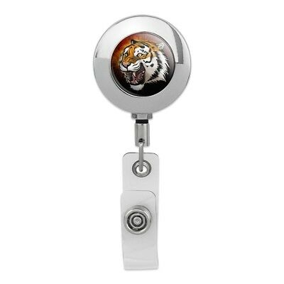 White Bengal Tiger with Blue Eyes Retractable Reel Chrome Badge ID Card Holder