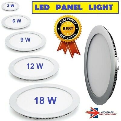 LED Round Recessed Ceiling Flat Panel Down Light Ultra slim Cool & Warm White