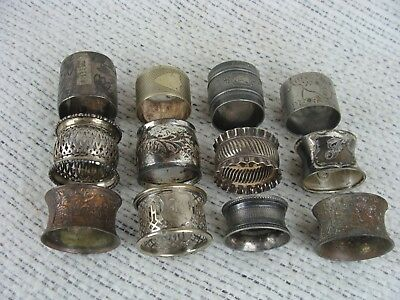 Lot of 12 Antique 1890's Silverplate  Victorian Nouveau Napkin Rings