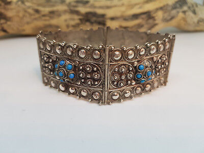 Used Antique Solid Silver & Turquoise Chinese Export Bracelet