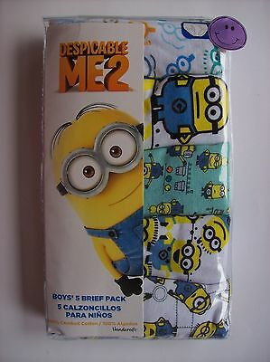 Despicable Me 2 Underwear Underpants Boys 5 Brief Pack Select Size 4 6 8 NIP
