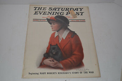 Original Antique April 17,1915 The Saturday Evening Post Magazine Cover