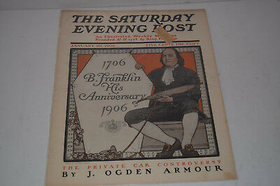 Original Antique January 20, 1906 The Saturday Evening Post Magazine Cover