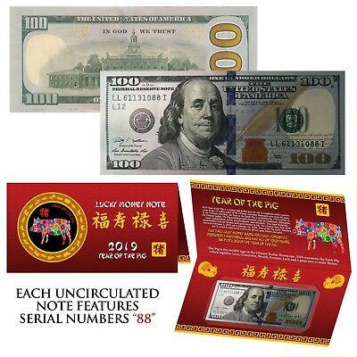 2019 CNY Chinese YEAR of the PIG Lucky Money US $100 Bill w/ Red Folder - S/N 88