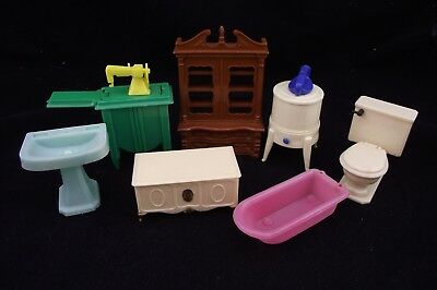 Vintage Marx / Reliable Doll House Furniture Mixed 7 Piece Group Little Miss Deb