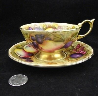 Aynsley Hand Painted Orchard Fruit Gold Signed D. Jones Cab. Tea Cup And Saucer