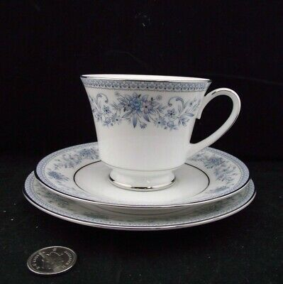 "Contemporary Noritake Blue Hill #2482 Trio Tea Cup Saucer 6.5"" Dessert Plate"