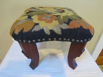"Antique 13"" Square Needlepoint Floral Foot Stool With Carved Legs"
