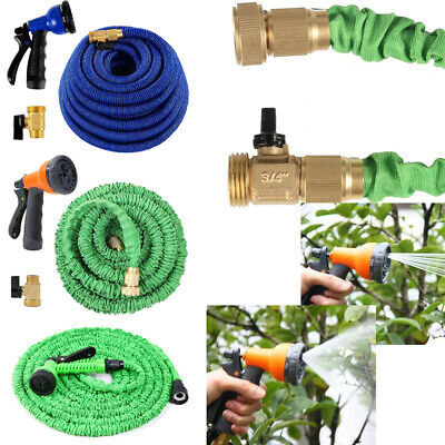 Latex Expanding Flexible Garden Water Hose with Spray Nozzle 25/50/75/100FT