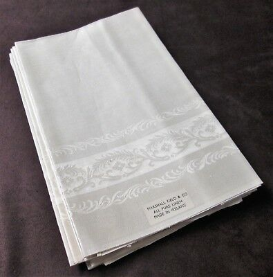 Antique 10 Linen Damask Napkins Unused Labels Marshall Field Feathery Garlands