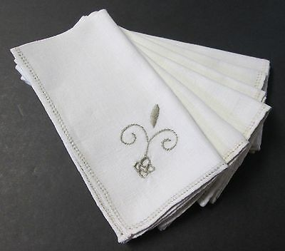 Vintage Linen 6 Napkins Italian Style Embroidery & Cutwork Hemstitched