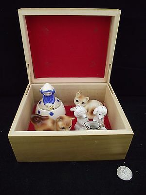 Treasure Box Made In Canada Cat Salt And Pepper French Poodle Blue Bell Jam Pot