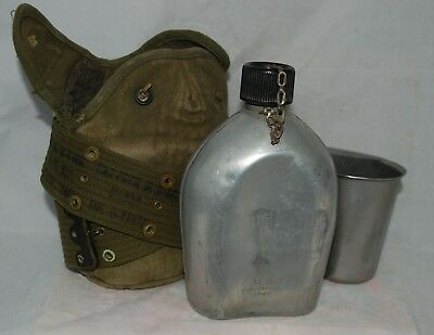 Vintage WWII US Army 1945 AGM Co Canteen, Cup, Cover & Belt