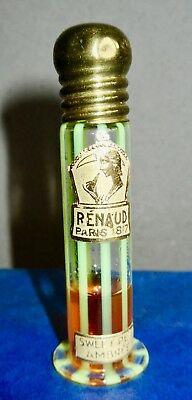 Renaud Paris 1817 SWEET PEA AMBREE Perfume Hand Blown Vaseline Glass Bottle