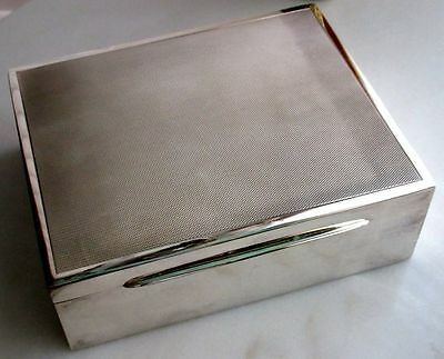 JEZLER Swiss RARE Large Solid Silver Cedar Lined Cigar Box Hallmarked Midcentury
