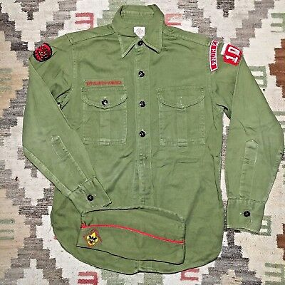 vtg 50s BOY SCOUT sanforized BSA uniform SHIRT cap WOOL patches S. EUCLID 103