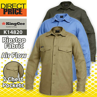 King Gee Work Shirt Ripstop Cotton WorkCool Long Sleeve K14820 5 Colours NEW