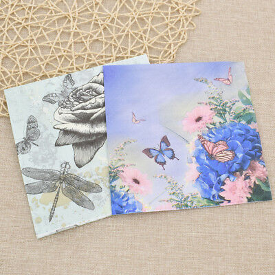 20pc/bag Butterfly Flower Paper Napkins Serviette Tissue Party Supply Home Decor