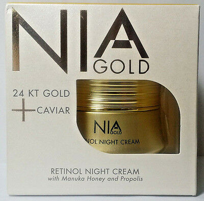 New Nia Gold 24 KT Caviar Retinol Night Cream Manuka Honey Propolis