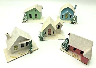 Cardboard Christmas Houses.Lot Of Vintage Cardboard Houses Christmas Village Decorations Mica Japan