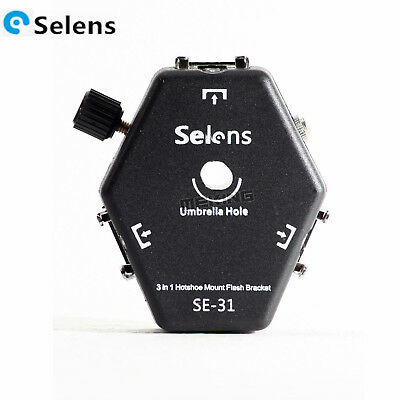 Selens SE-31 Triple Mount Speedlite Holder Flash Bracket w/ Triggering Loop