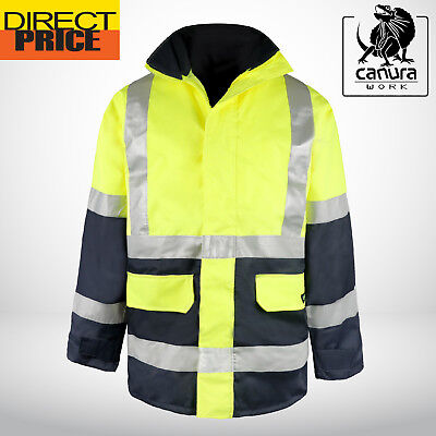 Hi Vis Rain Jacket with Hood Work Reflective Tape Safety Rain Wind Proof Wear