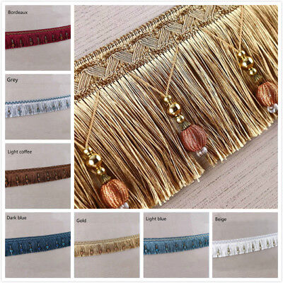 1 M Curtain Tassel Beaded Fringe Trimming Braid Trim Pom Pom Upholstery DIY