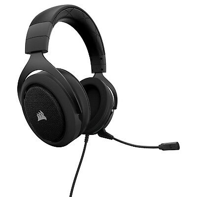 Corsair HS50 Wired Gaming Headset Headphones with Mic PC Mac PS4 Xbox One Black