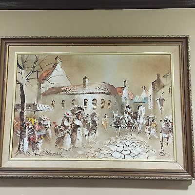 Artist  Boris Chezar signed oil and sand painting (24x36) ing