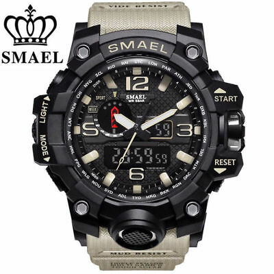 SMAEL Waterproof Sports Military Shock Mens Analog Quartz Digital Wrist Watches