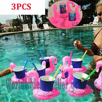 3Pcs Inflatable Can Holder Pool Flamingo Floating Water Swimming Cup Holder  HE