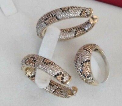 AAA Quality 925 Silver Handmade Jewelry Pave Cz Leopard Design Earrings Ring Set