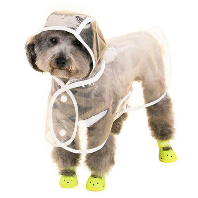 Dogs Pet Outdoor Winter/Summer Transparent Waterproof Rain Coat Jacket with Hood